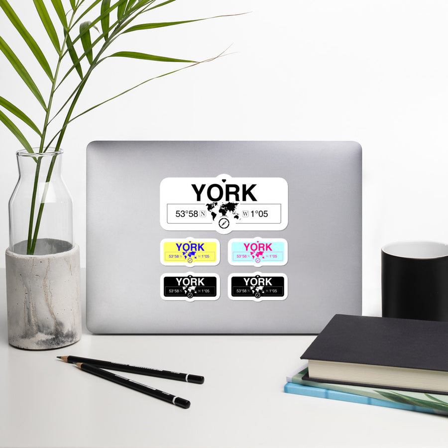 York, England Stickers, High-Quality Vinyl Laptop Stickers, Set of 5 Pack