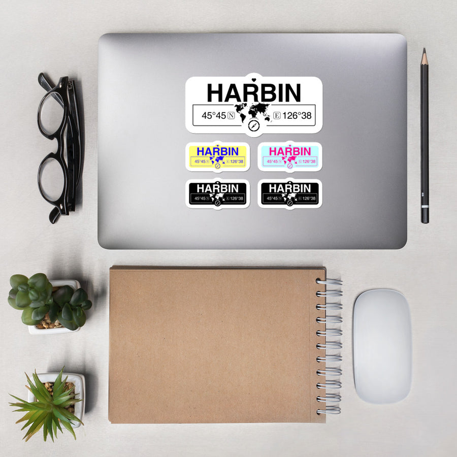 Harbin Stickers, High-Quality Vinyl Laptop Stickers, Set of 5 Pack