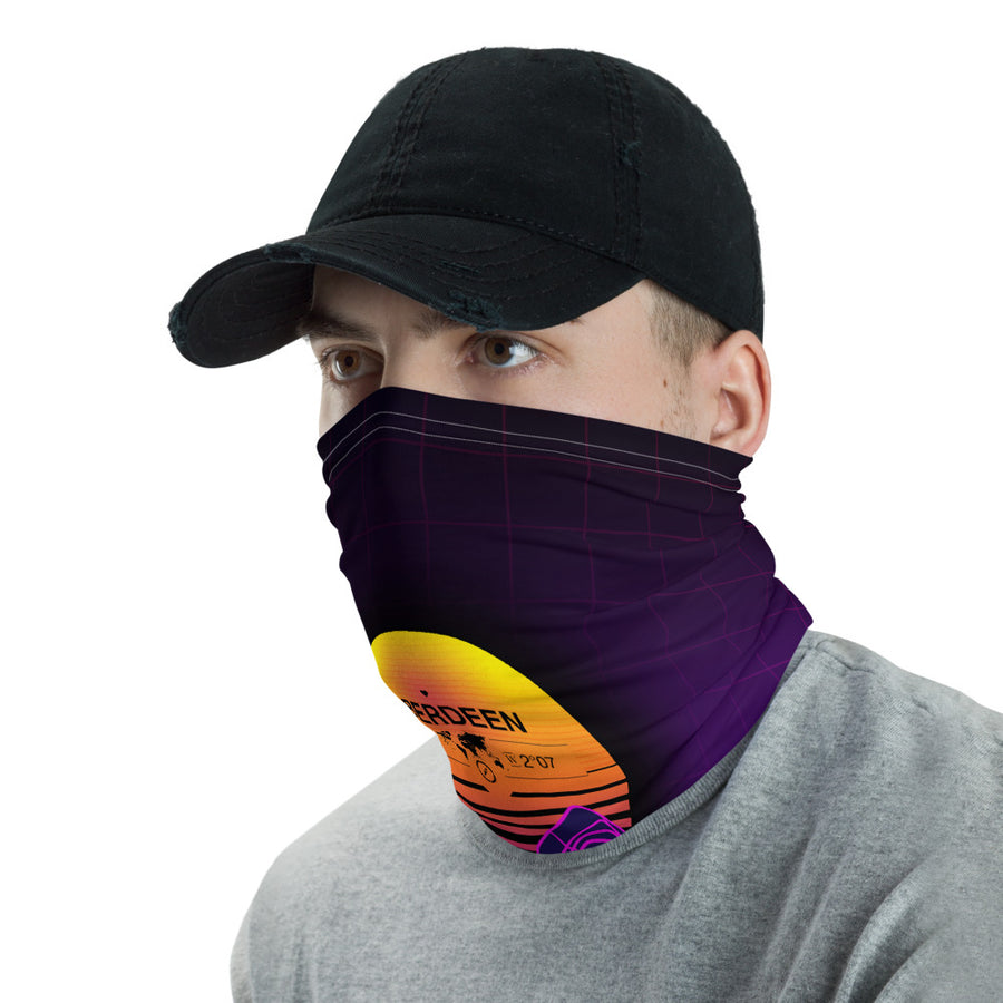 Aberdeen, Scotland, United Kingdom 80's Retro Sunset Gridline Mountains Neck Gaiter, Face Shield, Dust Mask Bandana, Washable Face Mask, Blue & Purple