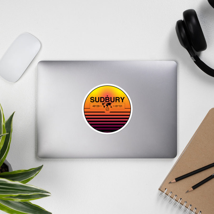 Sudbury, Ontario 80s Retrowave Synthwave Sunset Vinyl Sticker 4.5""
