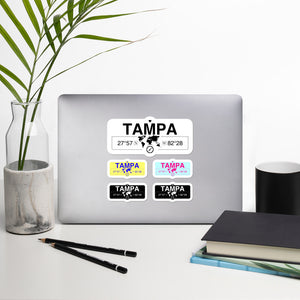 Tampa Florida Stickers, High-Quality Vinyl Laptop Stickers, Set of 5 Pack
