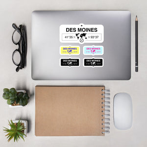 Des Moines, Iowa Stickers, High-Quality Vinyl Laptop Stickers, Set of 5 Pack