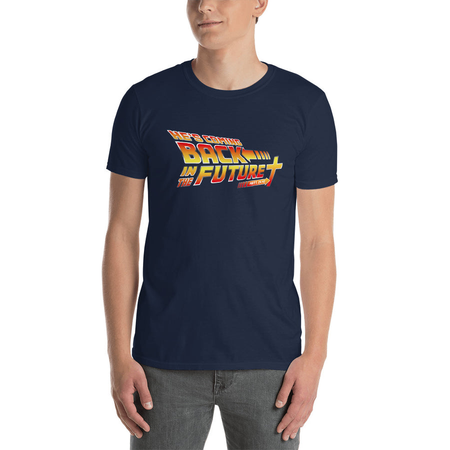Christian themed back in the future tshirt in navy