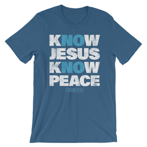 NO Jesus NO Peace Christian tee in Navy