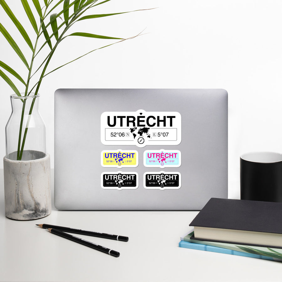 Utrecht, Utrecht Stickers, High-Quality Vinyl Laptop Stickers, Set of 5 Pack