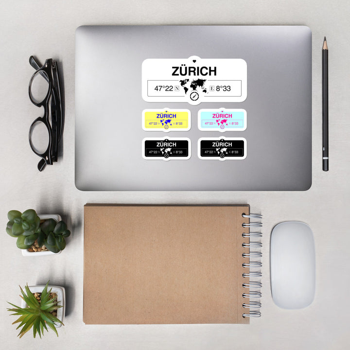 Zürich Stickers, Map Coordinates, Set of 5 Vinyl Sticker Sheet 5.5x5.5 Inch