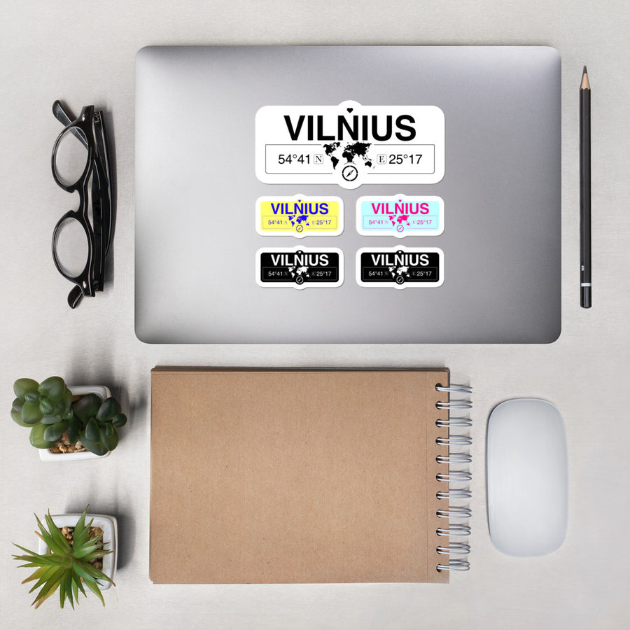 Vilnius, Vilnius Stickers, High-Quality Vinyl Laptop Stickers, Set of 5 Pack