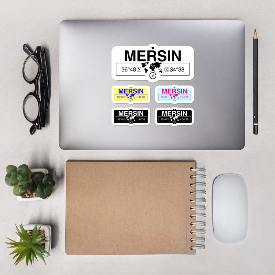 Mersin Turkey Stickers, High-Quality Vinyl Laptop Stickers, Set of 5 Pack