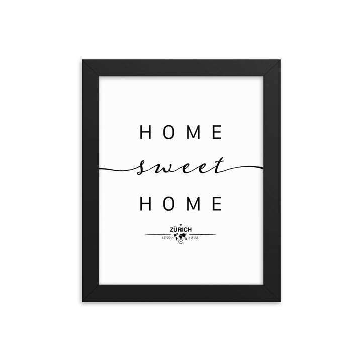 Zürich, Switzerland Home Sweet Home With Map Coordinates Framed Artwork