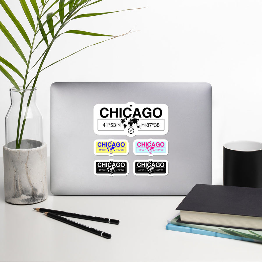Chicago, Illinois Stickers, High-Quality Vinyl Laptop Stickers, Set of 5 Pack