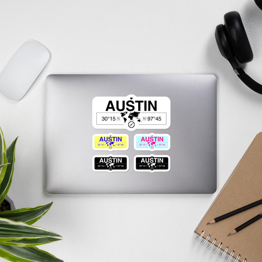 Austin, Texas Stickers, High-Quality Vinyl Laptop Stickers, Set of 5 Pack