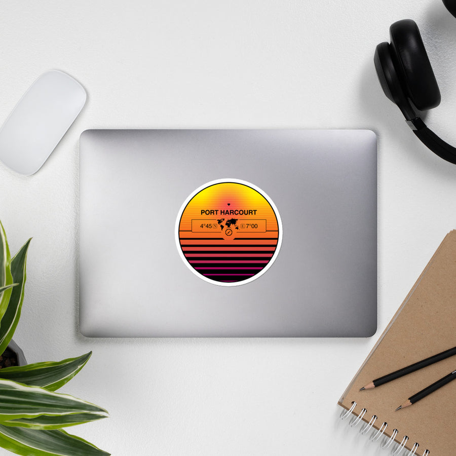 Port Harcourt, Nigeria 80s Retrowave Synthwave Sunset Vinyl Sticker 4.5""