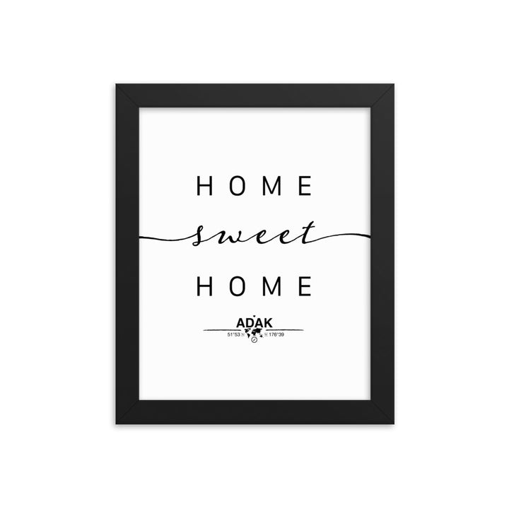 Adak, Alaska, USA Home Sweet Home With Map Coordinates Framed Artwork