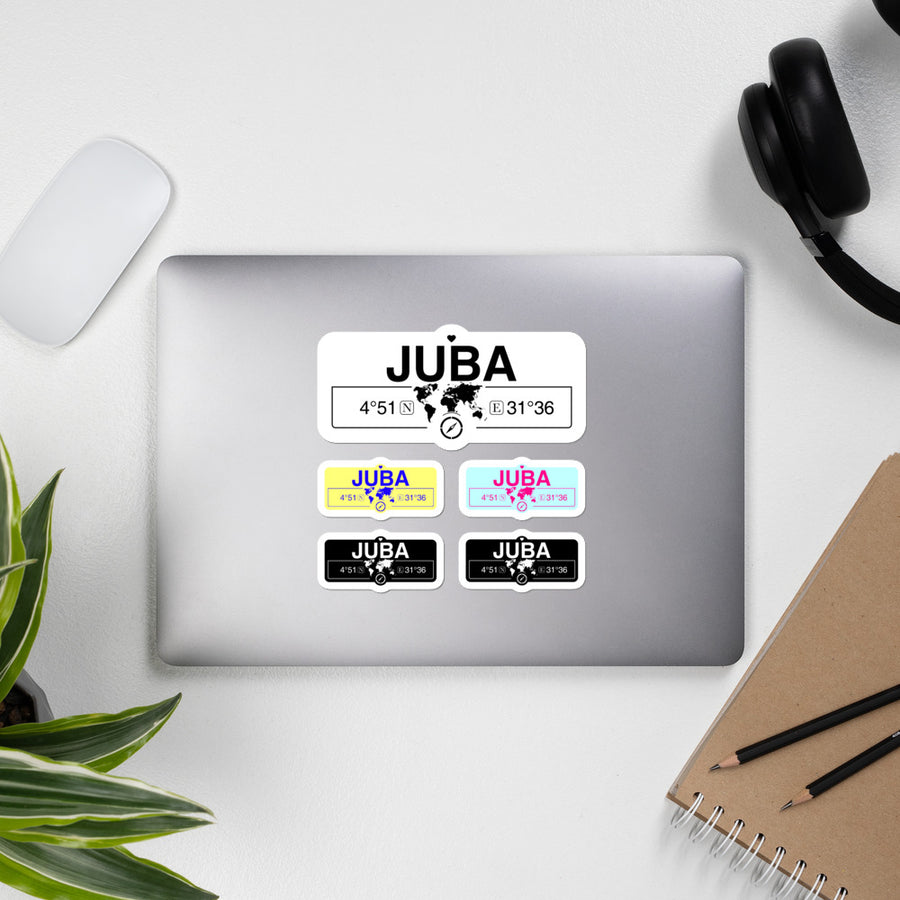 Juba South Suda Stickers, High-Quality Vinyl Laptop Stickers, Set of 5 Pack