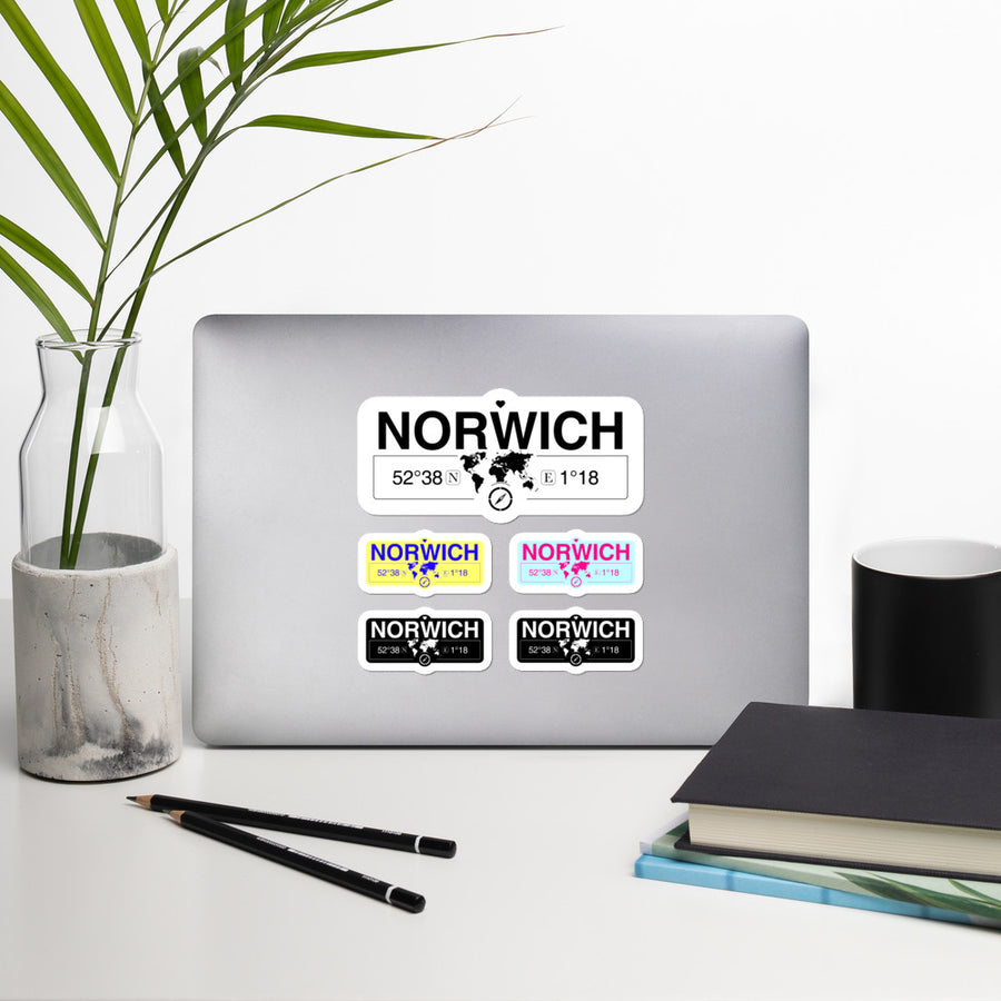 Norwich, England Stickers, High-Quality Vinyl Laptop Stickers, Set of 5 Pack