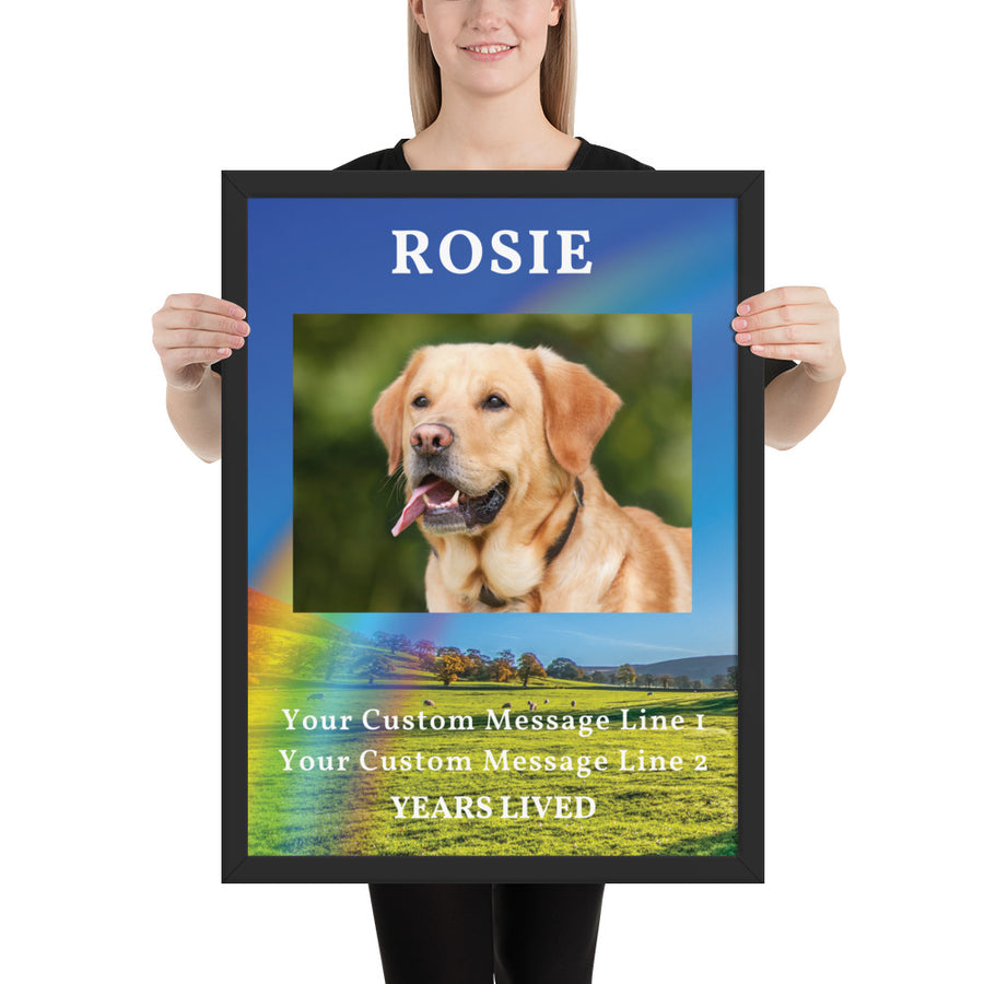 Personalised Dog Memorial Framed Artwork - Rainbow Bridge Large