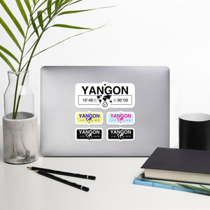 Yangon, Myanmar Stickers, High-Quality Vinyl Laptop Stickers, Set of 5 Pack