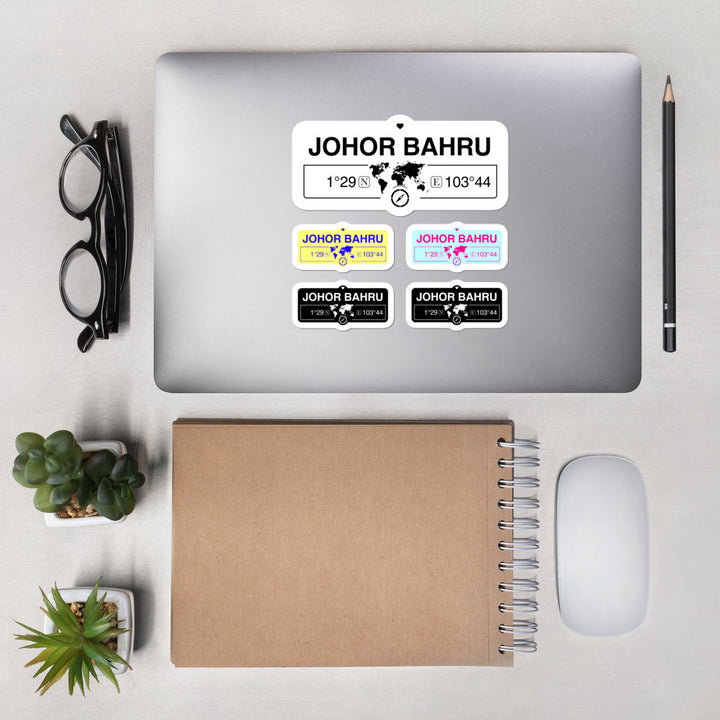 Johor Bahru, Maldives Stickers, Map Coordinates, Set of 5 Vinyl Sticker Sheet 5.5x5.5 Inch