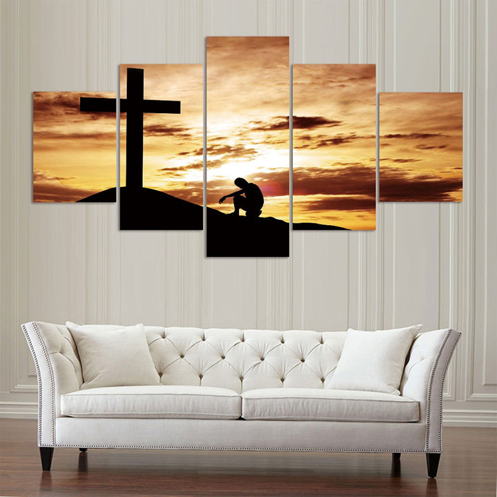 Kneeling at the Cross Canvas Wall Art 5-Piece Set image