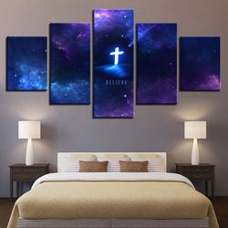 Glowing Cross Canvas Wall Art 5-Piece Set image
