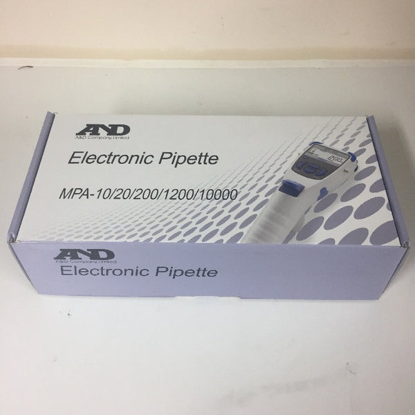 A&D Electronic pipettes in original boxing, picture of pipette on box