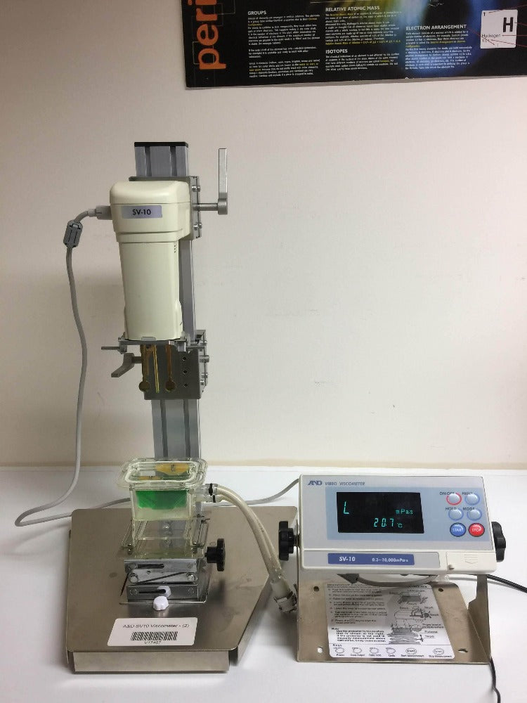A&D SV-10 Viscometer from front, digital screen to the side