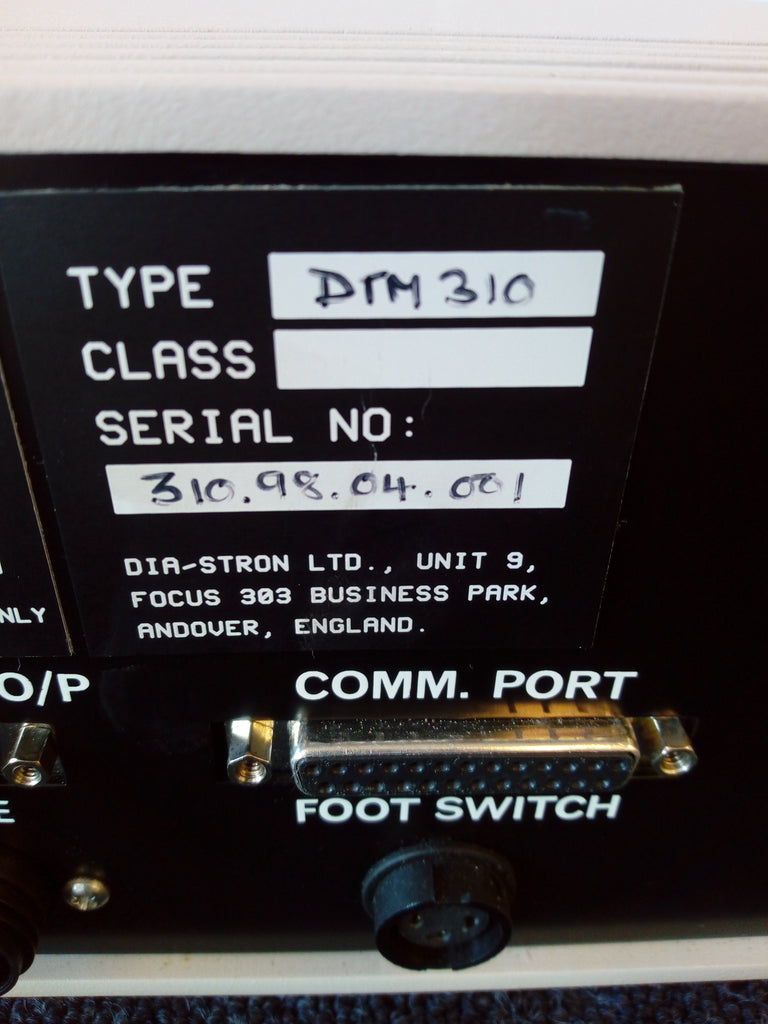 Technical Specifications, Comms Port, Foot Switch