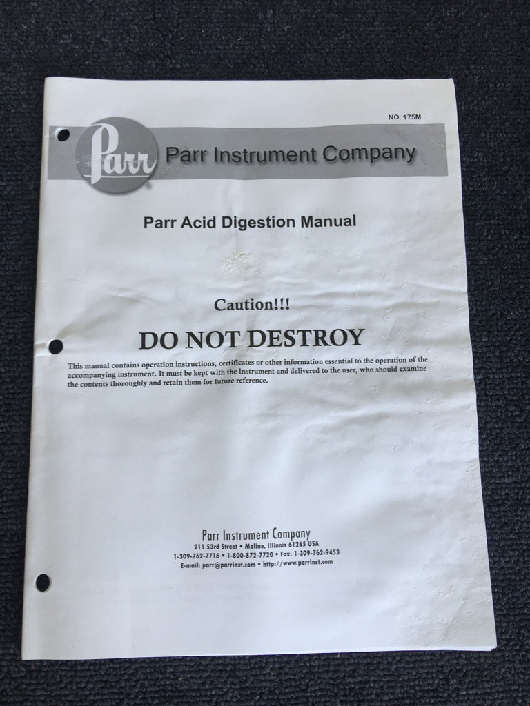 Parr Acid Digestion Manual