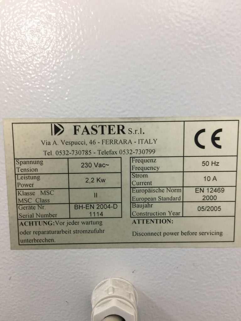 Faster BH-EN 2004 Class II Microbiological Safety Cabinet (S/N 1114)