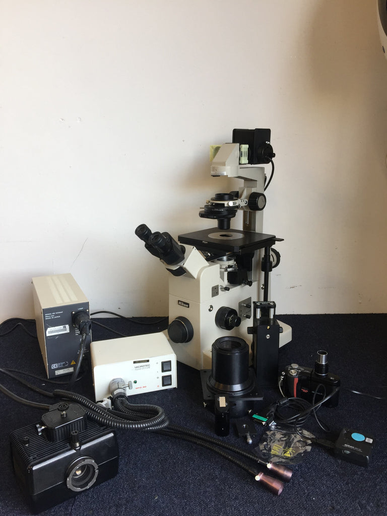 Nikon Diaphot Microscope with Microtec Fibre Optics MFO-90, HB-10104AF Power Box for Mercury Lamp & Mercury Light Box