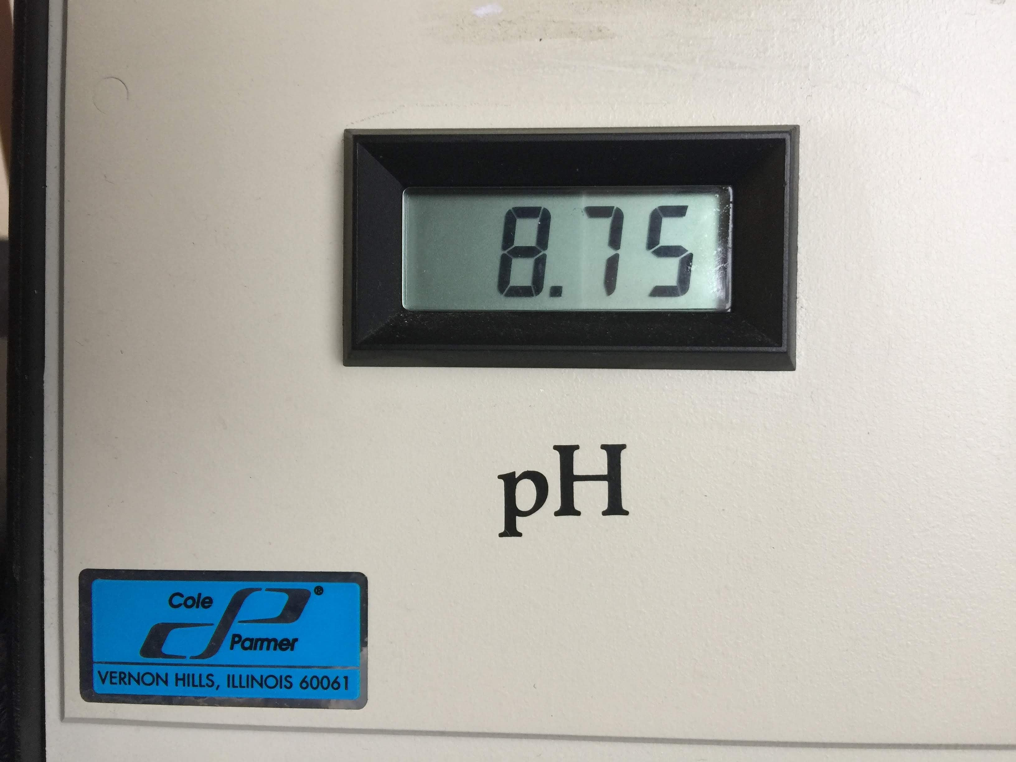 pH of 8.75 Shown on the Digital Screen