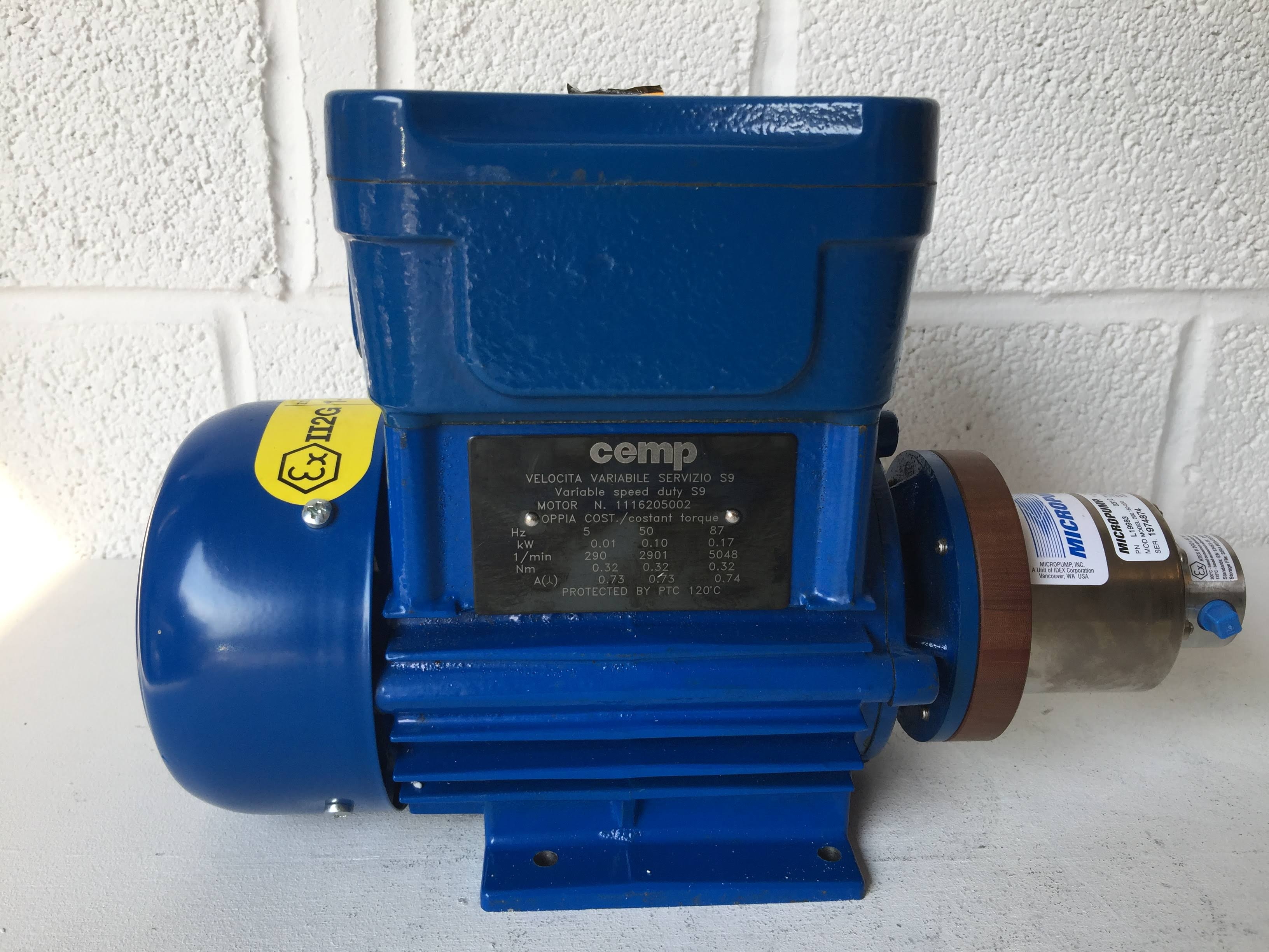 Cemp AC Motor with Micropump A‑Mount Cavity‑Style Pump Head (1974874)