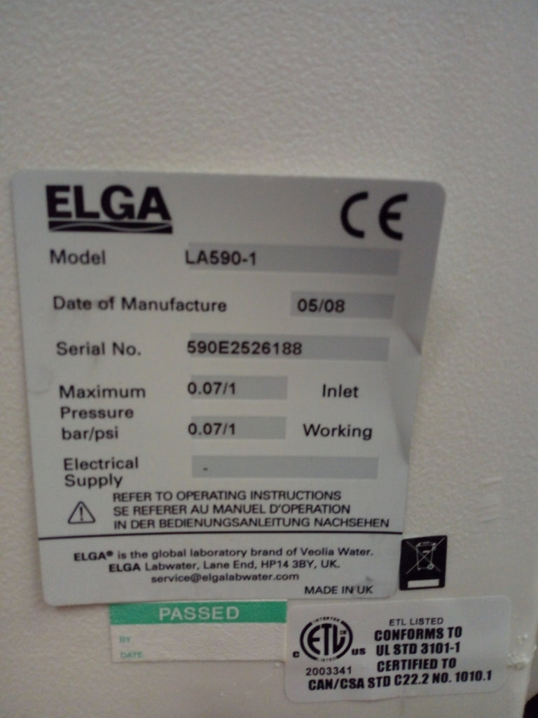 ELGA PureLab Option-S 60 with 75L Storage Tank