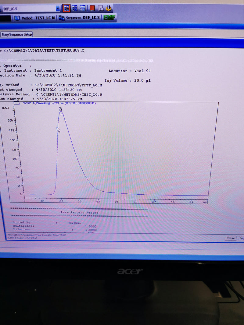 Agilent 1100 Series HPLC System - Degasser, QuatPump, ALS, COLCOM, VWD + PC - Richmond Scientific