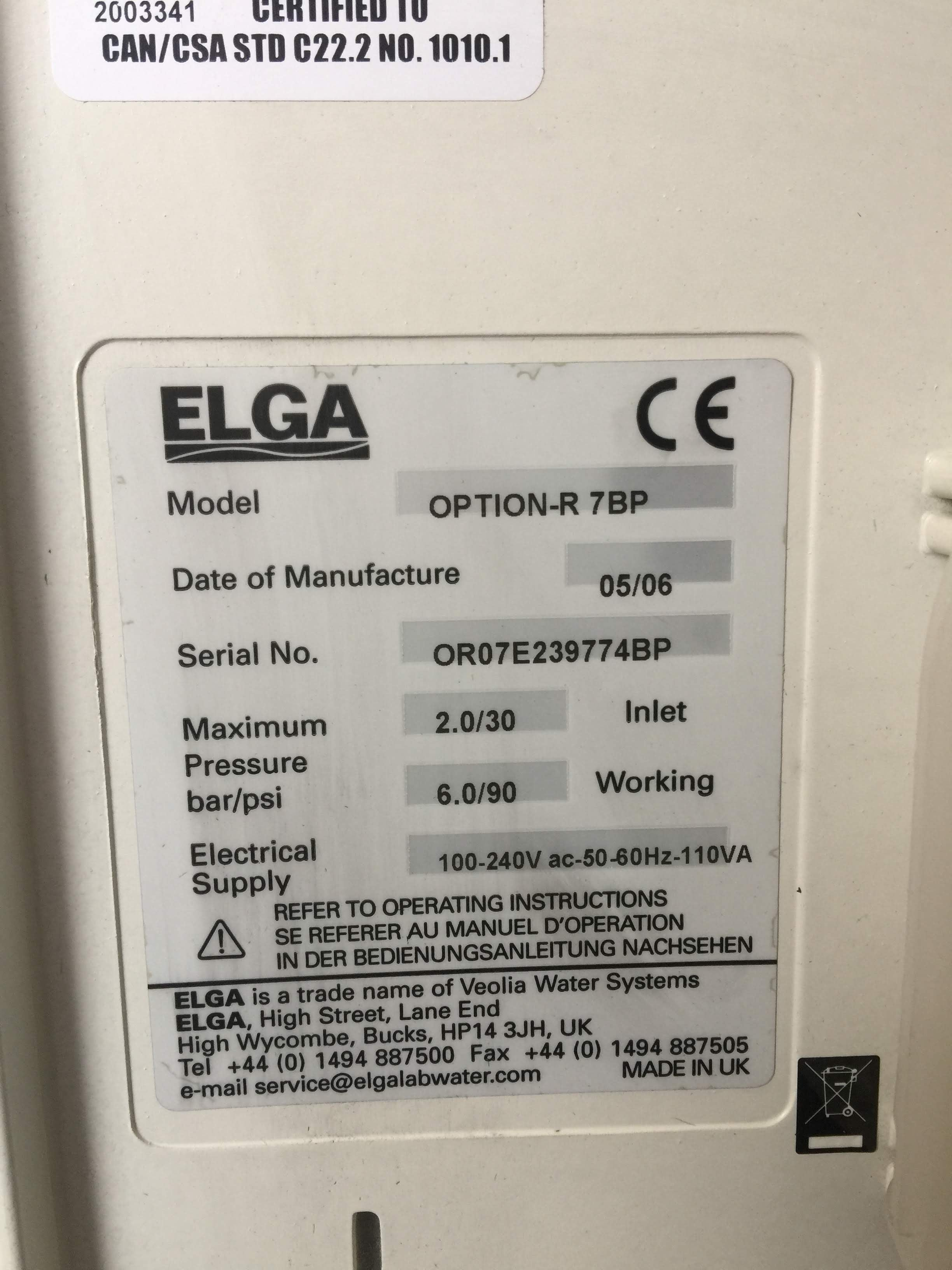 Elga Purelab Option-R 7BP Product Information