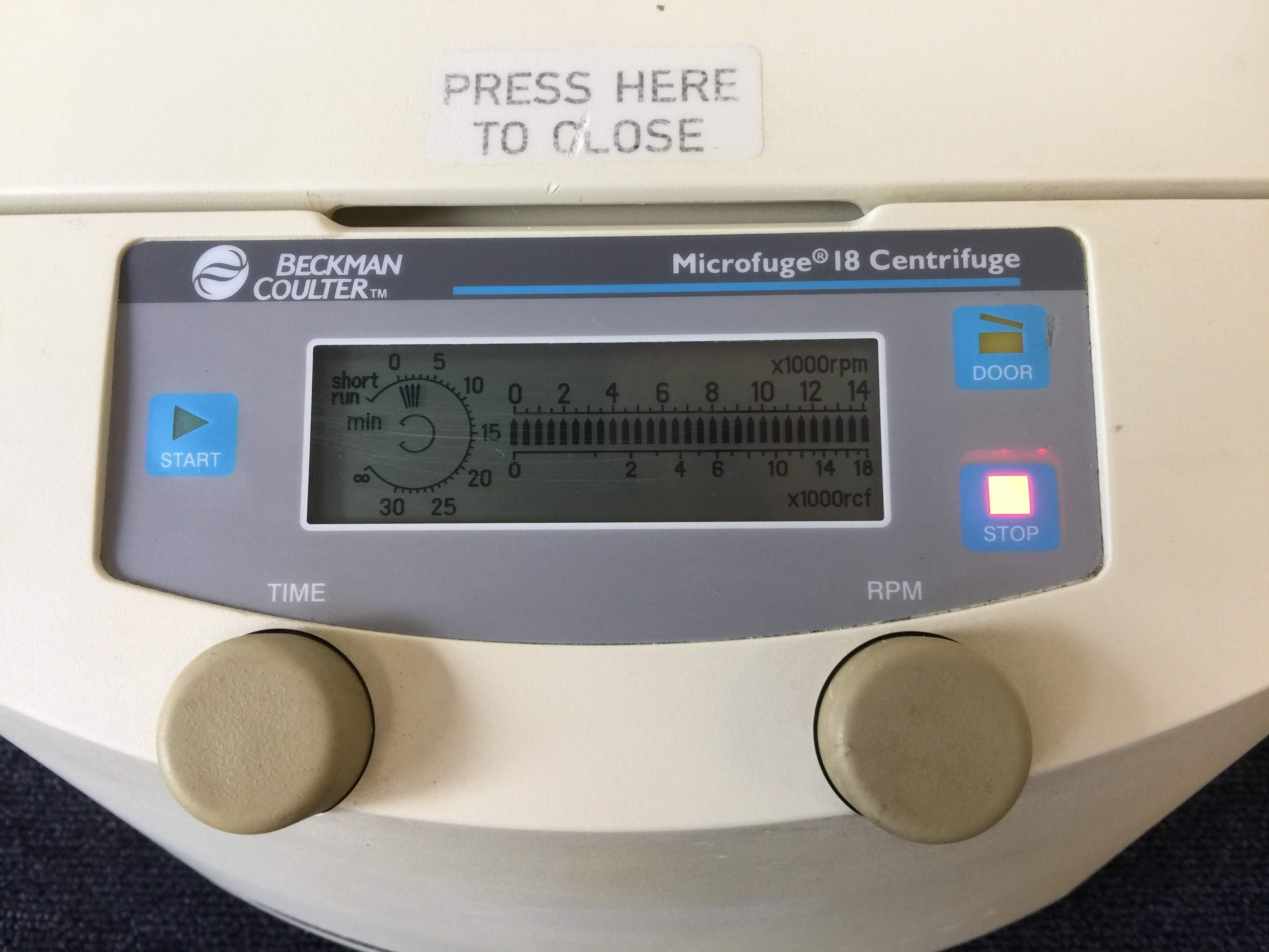 Beckman Coulter Microfuge 18 Centrifuge with Digital Screen