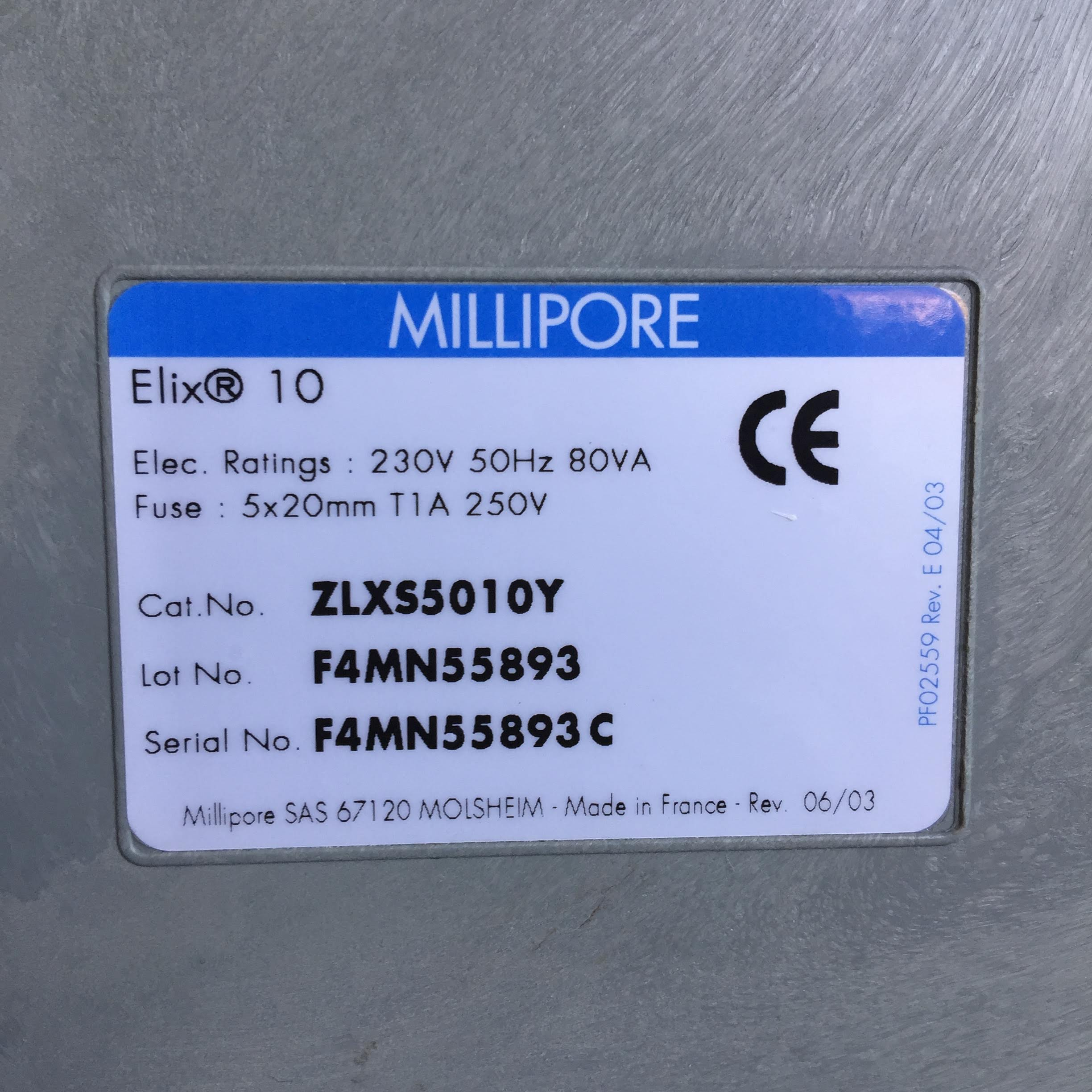 Millipore Elix 10 Product Information