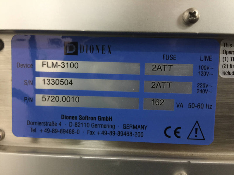 Dionex UltiMate 3000 HPLC System - Solvent Tray, 3000 Pump, UVD-3000, FLM-3100, 3000 Autosampler - Richmond Scientific