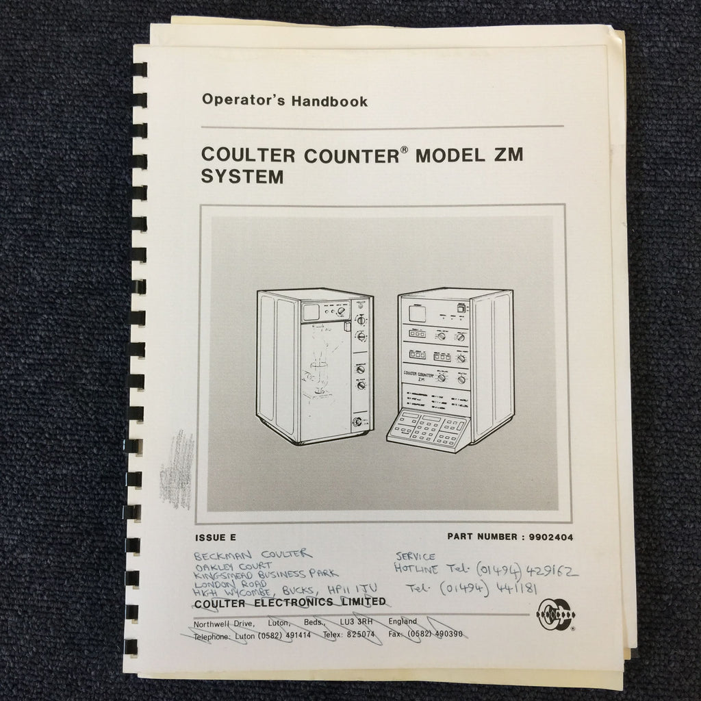 Coulter Counter Model ZM System Operator's Handbook