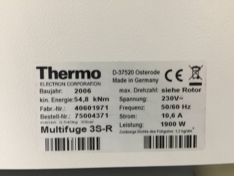 Thermo Electron Heraeus Multifuge 3 SR Refrigerated Centrifuge - Richmond Scientific