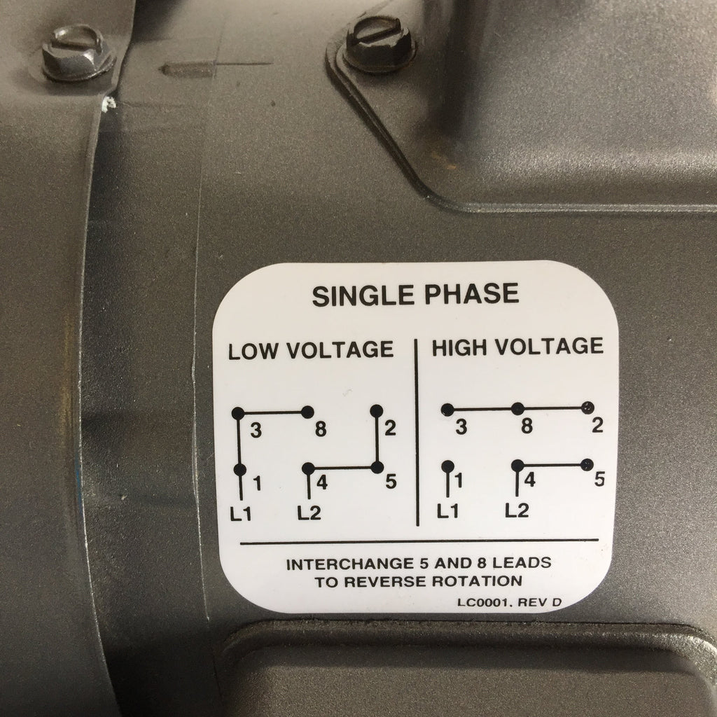 Interchange 5 and 8 leads reverse rotation, low voltage, high voltage