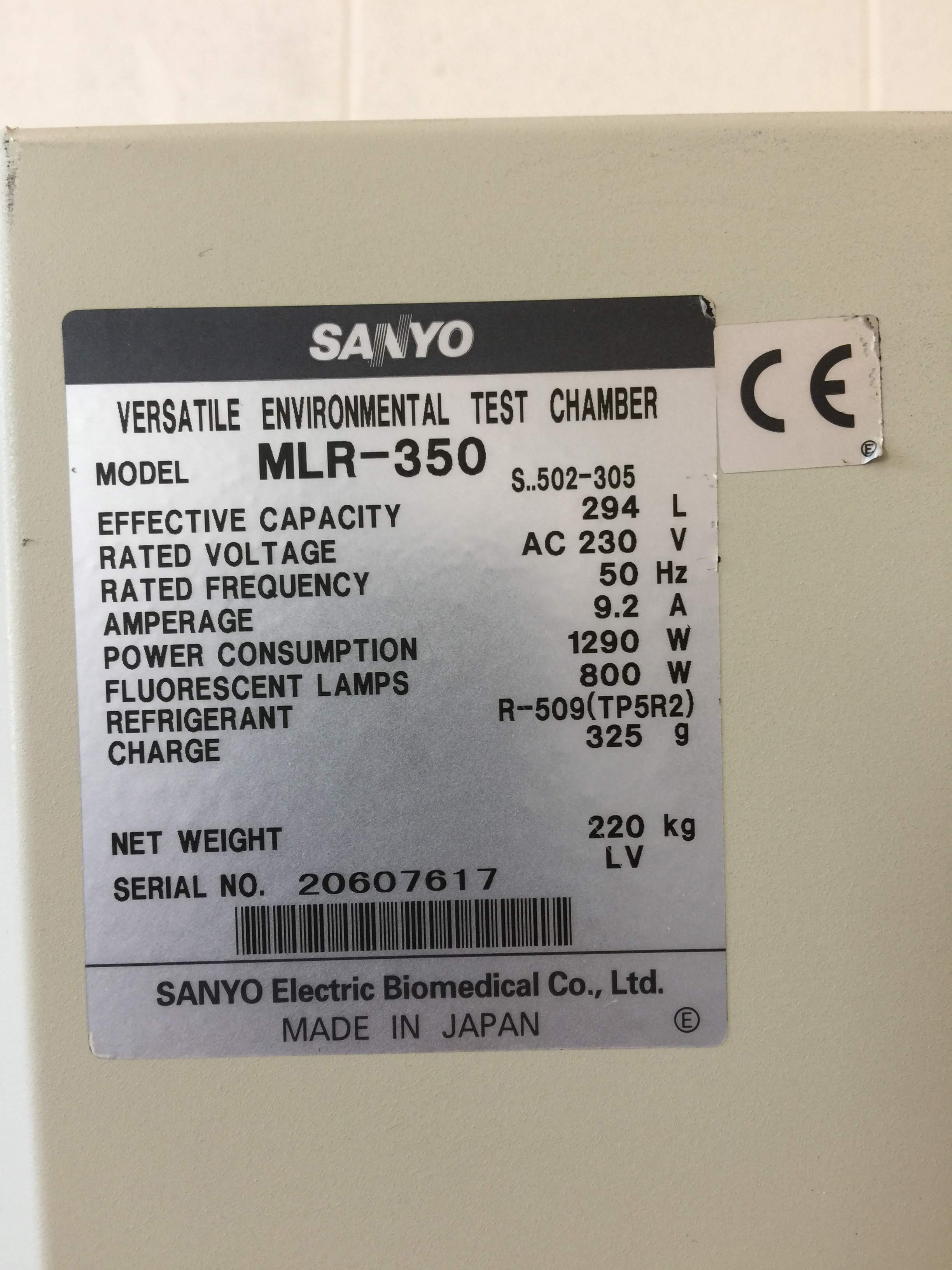 Sanyo Versatile Environmental Test Chamber MLR-350
