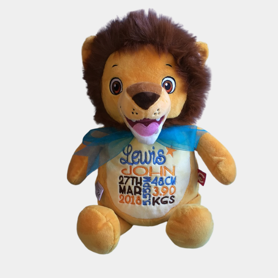 Personalised Cubbie Teddy, lion with birth details embroidered on belly