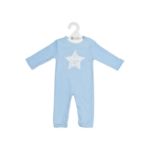 ES Kids | Long Sleeve Romper - Blue Scribbler Star (000)