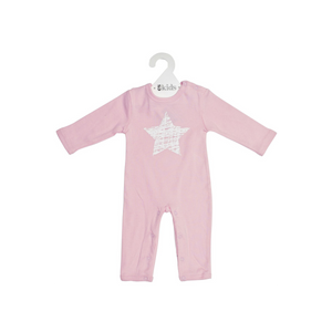 ES Kids | Long Sleeve Romper - Pink Scribbler Star (000)
