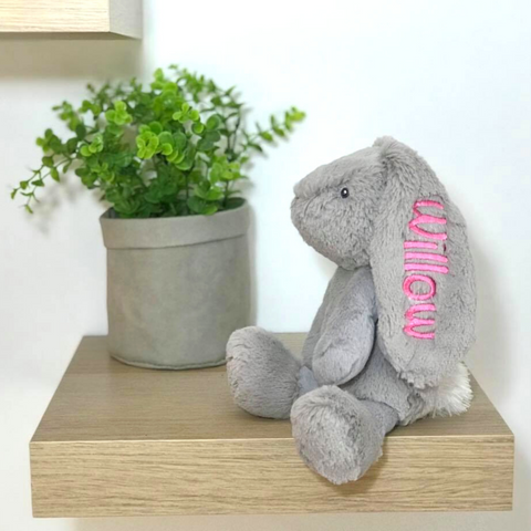 Personalised bunny, small grey korimco bunny with pink name on ear