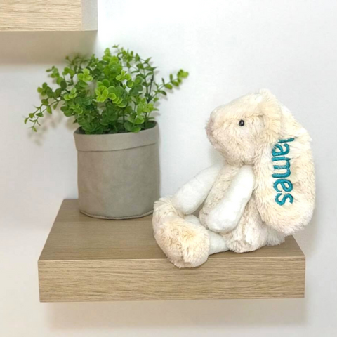 Personalised bunny, small cream korimco bunny with name on ear