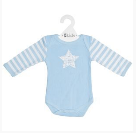 ES Kids | Long Sleeve Bodysuit - Blue Scribbler Star (000)