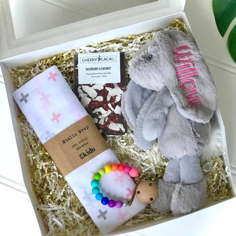 Pesonalised newborn gift hamper, jellycat bunny with name on ear
