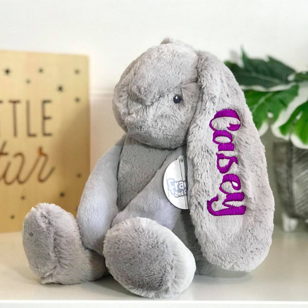 personalised bunny Australia- grey bunny with purple name embroidered on ear